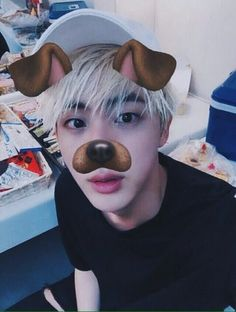 kim seok jin of BTS With the doggy filter