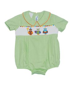 Another great find on #zulily! Green Smocked Owl Bubble Bodysuit - Infant #zulilyfinds