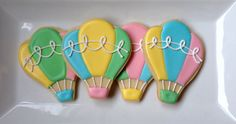 This listing is for one dozen sweet hot air balloon sugar cookies. You can customize your colors. You can personalize them. Each cookie will come