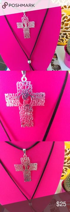Black choker Real suede and silver cross that features Guardian angel prayer in Spanish,  amazing piece, very boho style.  Made in USA Jewelry Necklaces