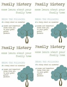 A Bushel and a Peck of FUN: Activity Day - Family history