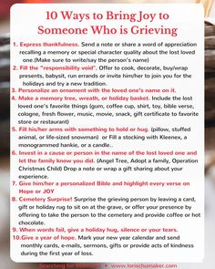 When someone we love is grieving, we often feel at a loss as to how to help. After suffering deep grief herself and then authoring several books on grief, Kathe Wunnenberg gives us 10 Ways to Bring Joy to Someone Who is Grieving Grieving Friend, Grieving Gifts, Grieving Quotes, Words Of Appreciation, Grief Counseling, Grief Support, Grief Loss, Lost Love, Helping Others