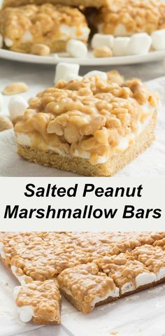 Recipe for Salted Peanut Marshmallow Bars. Easy to make and tastes similar to Pa… Recipe for Salted Peanut Marshmallow Bars. Easy to make and tastes similar to Payday Candy Bars. Great for afternoon snacks and lunchbox treats! Peanut Brittle Recipe, Peanut Recipes, Baking Recipes, Peanut Squares Recipe, Marshmallow Cookies, Cake Bars, Box Cake, Köstliche Desserts, Delicious Desserts