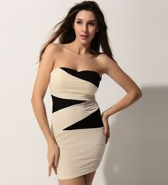 $36.99 Sexy Apricot Color Block Ruched Strapless Dress @ MayKool.com