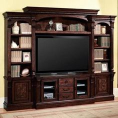 Picture of 4-Piece Entertainment Center with Dark Chocolate Finish