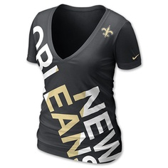 Nike NFL New Orleans Saints Off Kilter Women's V-Neck Tee Shirt | FinishLine.com | Black