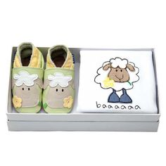 Daisy eating sheep embroidered baby pram shoes and sleepsuit gift set by Inch Blue