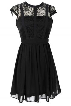 Capsleeve Lace Top Dress With Contrast Ribbon Overlay in Black