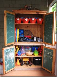 cool storage for outdoor toys clean up the yard and porch clutter antique armoire