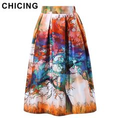 CHICING New 2016 Skirts Womens Spring Vintage Tree Multicolor Printed High Waist Flared Tutu Pleated Skater Midi Skirt A1601016