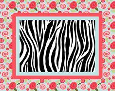 Modern Shabby Chic Roses & Zebra Combo Rug