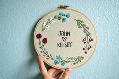 Wedding Embroidery Hoop - Custom with Couple's Names, Newlywed Gift, Wedding Anniversary Gift, Custom Names Sign, Floral Wreath Embroidery Embroidery Hoop Nursery, Embroidery Hoop Art, Ribbon Embroidery, Embroidery Stitches, Diy Embroidery For Beginners, Diy Embroidery Patterns, Embroidery Monogram, Stitch Patterns, Wedding Embroidery