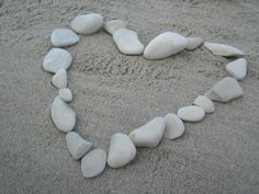 A heart made of beautiful white stones, find on the beach in Denmark.