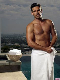 Sexy & Shirtless Eddie Cibrian Covers Up in Only a Towel During Shoot (PHOTOS) ...YAAAASSSS