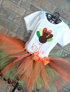 Little Turkey Thanksgiving Tutu Outfit.