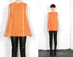 Vintage 60s Sleeveless OP-ART Mod Polka Dot Babydoll Tunic Tent MINI Dress