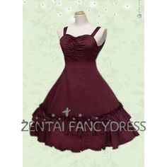 Shoulder Straps Long Lolita Dress With Ruffles and Boe Knot In Burgundy
