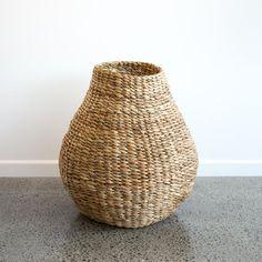 Tall Organic Natural Basket - Corcovado Water Hyacinth, Large Baskets, Hollywood Hills, Plant Holders, Hand Weaving, Clay, Organic, Sculpture, Natural