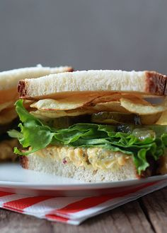 5. Chickpea Salad With Potato Chips #recipes #healthy #sandwich http://greatist.com/eat/new-healthy-sandwich-recipes