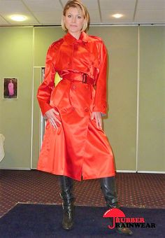 Wow! Blonde in Stunning Red Trench Coat in Satin (SBR) with black leather boots