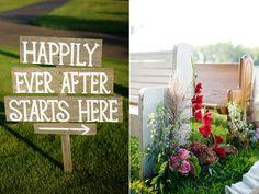 signage and bench seating for an outdoor wedding