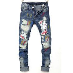 >> Click to Buy << Fashion Mens Pleated Distressed slim fit Jeans Skinny Ripped Denim Pants #Affiliate