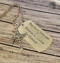 Brother Sister Bond Hand Stamped DogTag by RiverSongsJewelry