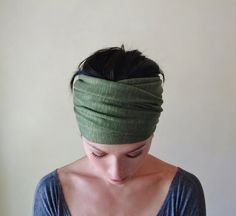 OLIVE GREEN Head Scarf - Lightweight Slub Jersey Hair Wrap, Hair Covering - Womens Hair Accessories on Etsy, $21.00