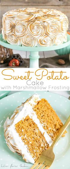 Transform a traditional Thanksgiving side dish into the perfect dessert with this Sweet Potato Cake with Marshmallow Frosting. Holiday Cakes, Holiday Desserts, Just Desserts, Desserts Caramel, Health Desserts, Cupcakes, Cupcake Cakes, Cupcake Recipes, Baking Recipes