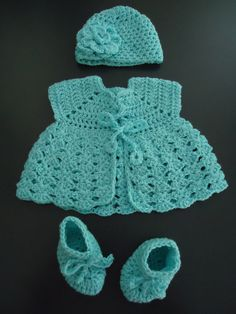 Crochet Baby Set of Hat Top and Booties by finaru on Etsy, $45.00