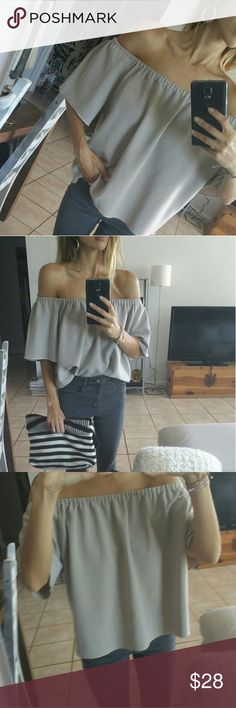 Off The Shoulder Top Custom Made #UniquePiece. NEW. Amazing textured fabric, light gray/cream/nude color. Fits size XS/S/M. Custom made, my design. Custom Made Tops
