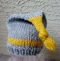 Newborn Baby Pixie Beanie in Grey and Mustard Yellow Shabby Beanie Hat Chic Baby Photo Prop. $18.00, via Etsy.
