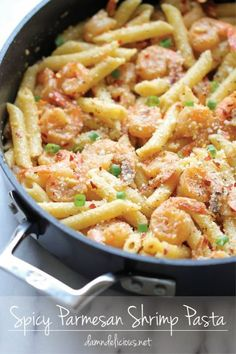 Spicy Parmesan Shrimp Pasta - So flavorful, so spicy and so easy to put together, perfect for those busy weeknights! #dinner #healthy #meal
