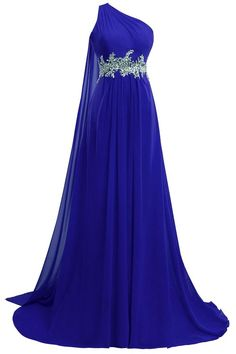 ORIENT BRIDE One Shoulder Prom Dress with Beaded Chiffon Evening Bridesmaid Gown Size 10 US Royal Blue