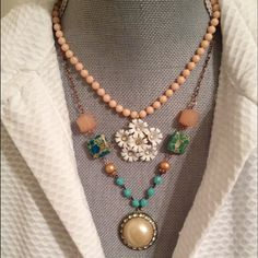 ChicEVintage Jewelry - Aqua and Peach Repurposed Necklace