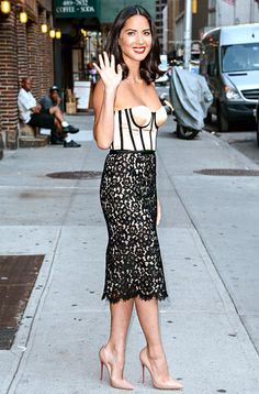 Boudoir-Inspired Couture Olivia Munn rocked a lingerie-esque look leaving NYC's Ed Sullivan Theater after taping The Late Show with David Letterman Aug. 27.