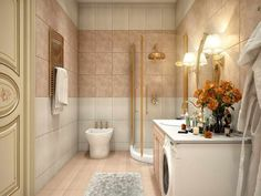 Color scheme with white and gold image. art deco bathroom designs to inspire your relaxing sanctuary : cool modern bathroom wall tile design Simple Bathroom Designs, Bathroom Tile Designs, Modern Bathroom Design, Bathroom Interior, Modern Design, Shower Designs, Simple Designs, Wall Tiles Design, Bathroom Shower Curtains