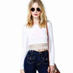 Sexy Lace Crochet Bare Midriff Top T-Shirt Lace Long Sleeves Shirt White   $ 4.19