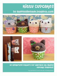 Amigurumi Kitty Cupcake Magnets Pattern - for free download
