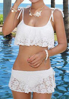 Lace Layered Bikini Set - Gorgeous White Lace Design Bikini