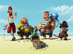 """Pirates of the High Fees"" Campaign for WorldFirst Bank on Behance Pirate Games, Pirate Art, Pirate Life, Pirate Theme, Cute Characters, Cartoon Characters, Pirate Illustration, Pirate Cartoon, Sea Pirates"