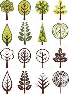 Retro árboles illustracion libre de derechos libre de derechos                                                                                                                                                                                 Más