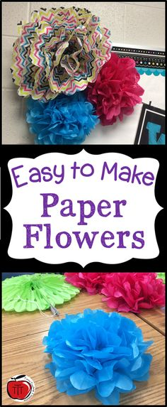 Save your money and learn how to make these super simple paper flowers! These are great for bulletin boards and classroom decorations. They make for fun art lessons with your students. Stop buying pre-made flowers when you can make your own.