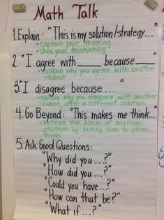Math Talk anchor chart ...from Making Shift Happen (blog)