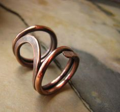 Rocking chair ring forged in copper and oxidized. Size 7. Handmade Jewelry.