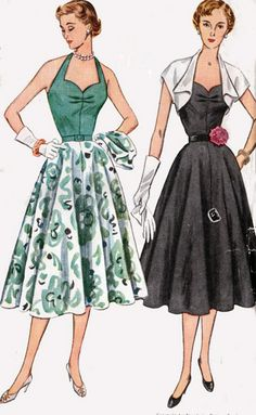 1950s Vintage Sewing Pattern Simplicity 3575 ROCKABILLY Glam Halter Dress with Short Bolero  Size 20 B38 on Etsy, $43.00