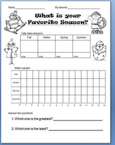 I love this handout for our unit on the weather! Our plan for Day 2 is to work on the four seasons, and this activity would have them surveying their classmates, moving around the room, talking to one another, and graphing. HB