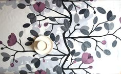 Tablecloth white black grey purple flowers 37x56 or by Dreamzzzzz, $25.00