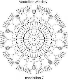 Crochê Tricô - Gráficos: Xale Medalhão