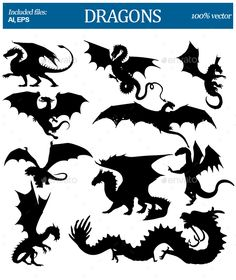 Dragons Silhouettes by SkyWorks Set of silhouettes dragons. Silhouette Dragon, Silhouette Art, Hogwarts Silhouette, Dragon Crafts, Dragon Art, Medieval Dragon, Dragon Birthday, Monster Characters, Painted Rocks